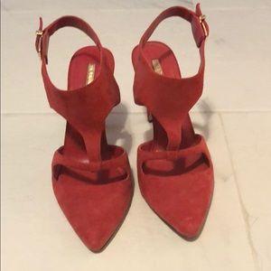 Red suede BCBG heels